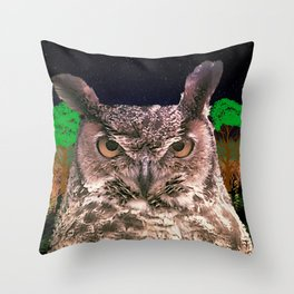 The Owlbserver In The Forest Throw Pillow