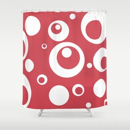 Circles Dots Bubbles :: Berry Blush Shower Curtain