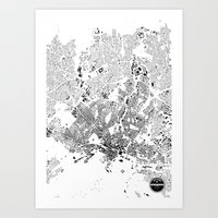 oslo Art Prints featuring OSLO by Maps Factory