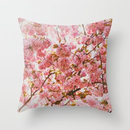 Beautiful Bundles Of Pink Cherry Blossoms In Full Bloom Japanese Sensibility Throw Pillow