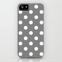 Polka Dots - White on Gray iPhone Case