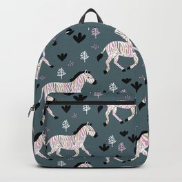 Sweet Zebra night garden winter blue pink kids Backpack