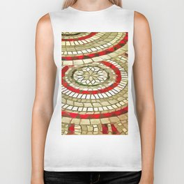 Mosaic Circular Pattern In Red and Gold Biker Tank