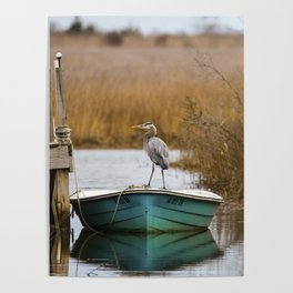 Great Blue Heron on Fishing Boat Poster