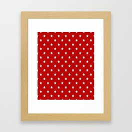 Red Background With White Stars Pattern Framed Art Print