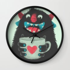 Demon with a cup of coffee Wall Clock