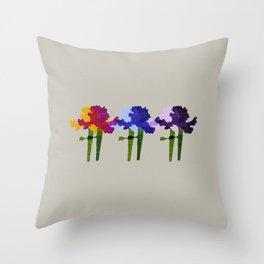colorful iris screen print design Throw Pillow