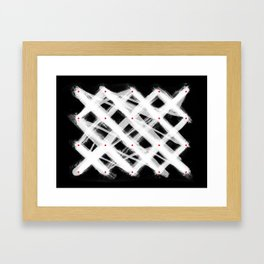 Dotted Grid with Brush Strokes Black Framed Art Print