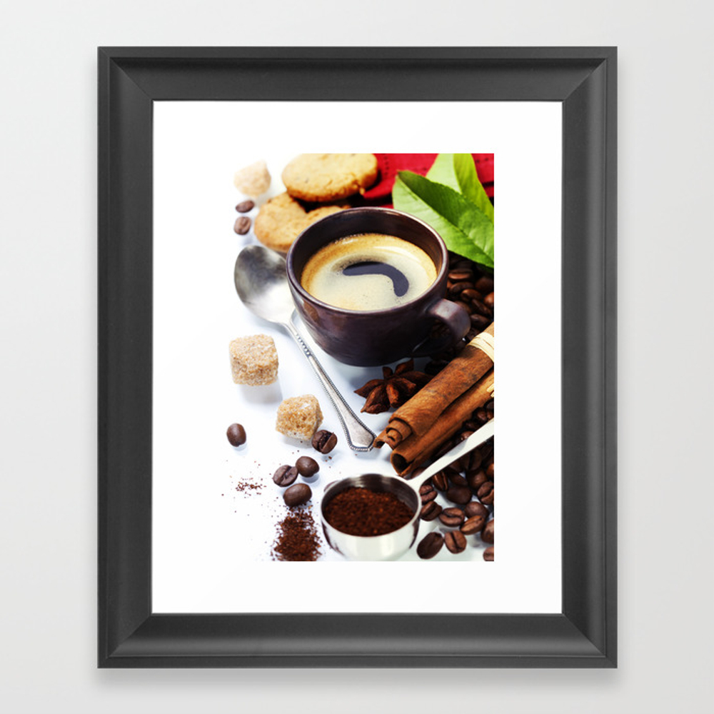 Fresh Coffee Over White Background Framed Art Print by Klenova FRM8621269