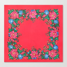 Traditional folk painting pattern Canvas Print