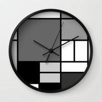 mondrian Wall Clocks featuring Mondrian by Dizzy Moments