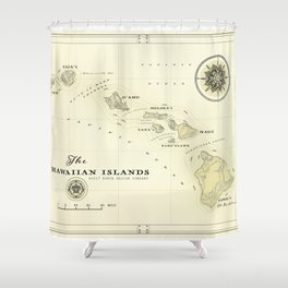 Hawaiian Islands [vintage inspired] map print Shower Curtain