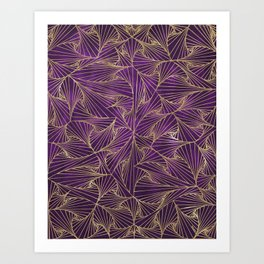 Tangles Violet and Gold Art Print