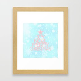 Joy, Noel, Merry Christmas and Star pattern - pink on aqua Framed Art Print