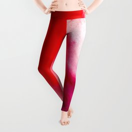 Slow Burn: simple abstract ink on paper in red, purple, and pink Leggings