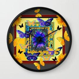 FANTASY ART PURPLE & YELLOW BUTTERFLIES SUNFLOWER Wall Clock