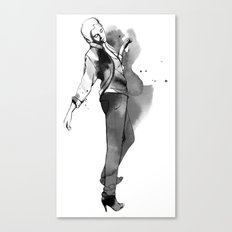 Fashion silhouette black and white - Ozie girl Canvas Print
