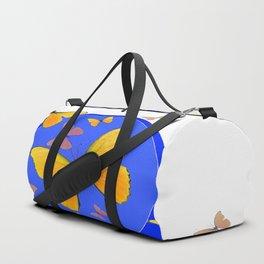 YELLOW BUTTERFLIES SWARM & BLUE RING MODERN ART Duffle Bag