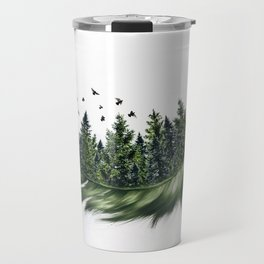 Earth Feather • Green Feather (horizontal) Travel Mug