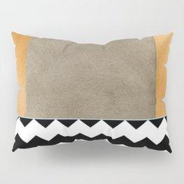 Shiny Copper Coffee Glaze And Black And White Chevron Pattern Pillow Sham