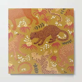 Jungle Cat Party in Goldenrod Metal Print