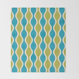 Classic Retro Ogee Pattern 852 Turquoise and Olive Throw Blanket