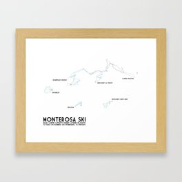 Monterosa Ski, Aosta Valley, Italy - NA Edition (Labeled) - Minimalist Trail Art Framed Art Print