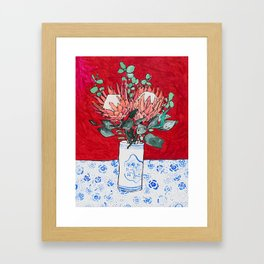 Delft Bird Vase of Proteas on Red Framed Art Print