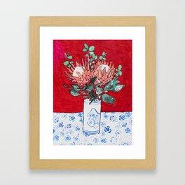 Delft Bird Vase of Proteas on Red Framed Art Print