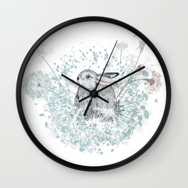 Lovely vector little rabbit with dandelions Wall Clock