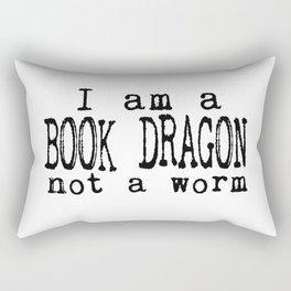 I am a BOOK DRAGON, not a worm. Rectangular Pillow