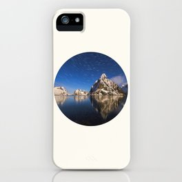 Mid Century Modern Round Circle Photo Graphic Design Swirling Star Sky Above Mountains iPhone Case