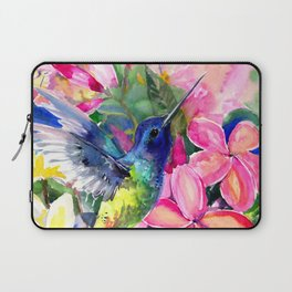 Hummingbird and Plumeria Florwers Tropical bright colored foliage floral Hawaiian Flowers Laptop Sleeve