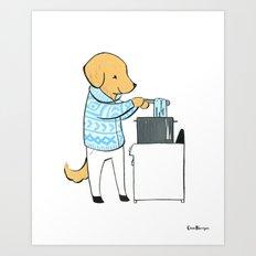 Golden Retriever Indie Yarn Dyer (Dogs with Jobs series) Art Print