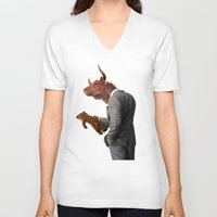 bull V-neck T-shirts featuring Bull by rob art | illustration