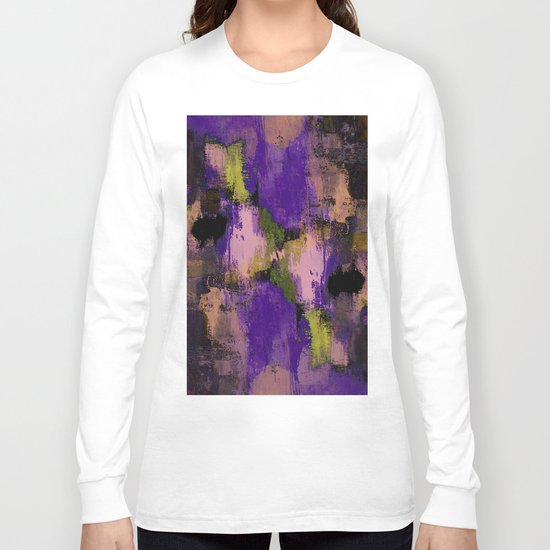 Abstract Nature - Textured, blue, yellow, pink, lilac, purple, black and orange painting Long Sleeve T-shirt
