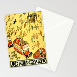 Vintage Lure of the London Underground Subway Travel Advertisement Poster Stationery Cards
