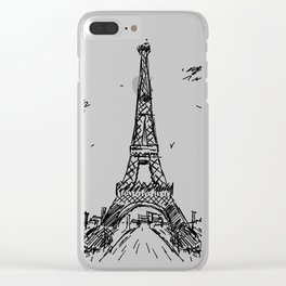 Paris Eiffel Tower Drawing Clear iPhone Case