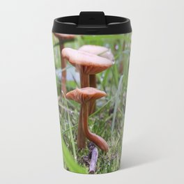 Mushroom under a leaf and acorn Travel Mug