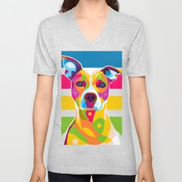 Colorful Dog Face Unisex V-Neck