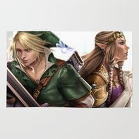 the legend of zelda Area & Throw Rugs featuring Legend of Zelda by KlsteeleArt