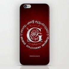 Joshua 24:15 - (Silver on Red) Monogram G iPhone & iPod Skin
