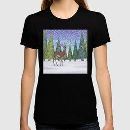 Christmas deer and chickadees T-shirt