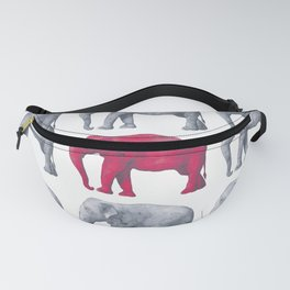 Elephants Red Fanny Pack