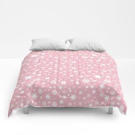 White & blush pink snowflake pattern Comforters