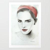 emma watson Art Prints featuring Emma Watson by Simona Borstnar