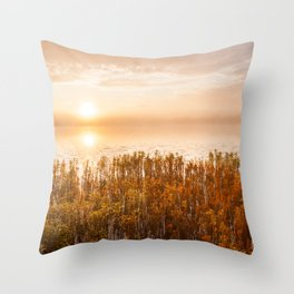 Sunrise at foggy serene lake Throw Pillow