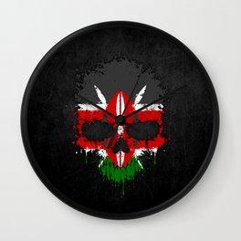 Flag of Kenya on a Chaotic Splatter Skull Wall Clock