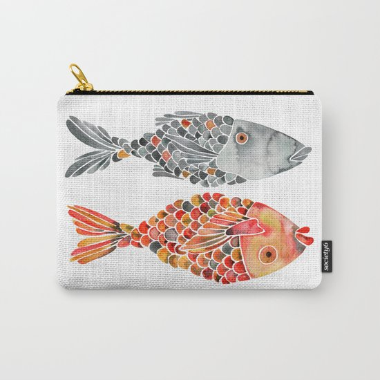 Indonesian Fish Duo – Grey & Orange Palette Carry-All Pouch