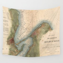 Vintage Martha's Vineyard Holmes Hole Map (1847) Wall Tapestry